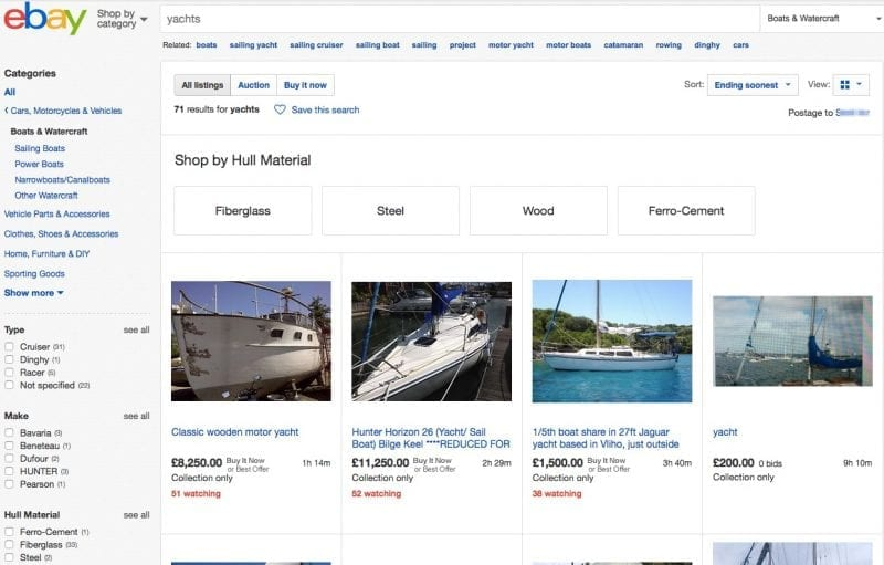 Yachts On Ebay
